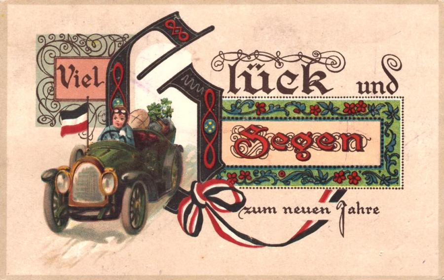 Erna aus Rastow grüßt Bertha in Sülte zum neuen Jahr 1917