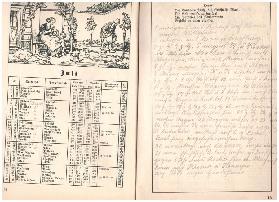aus einem Kalender von 1931