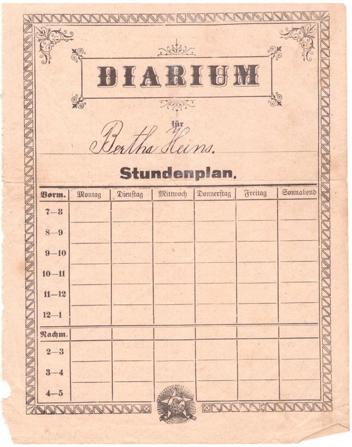 Stundenplan Anfang 1900