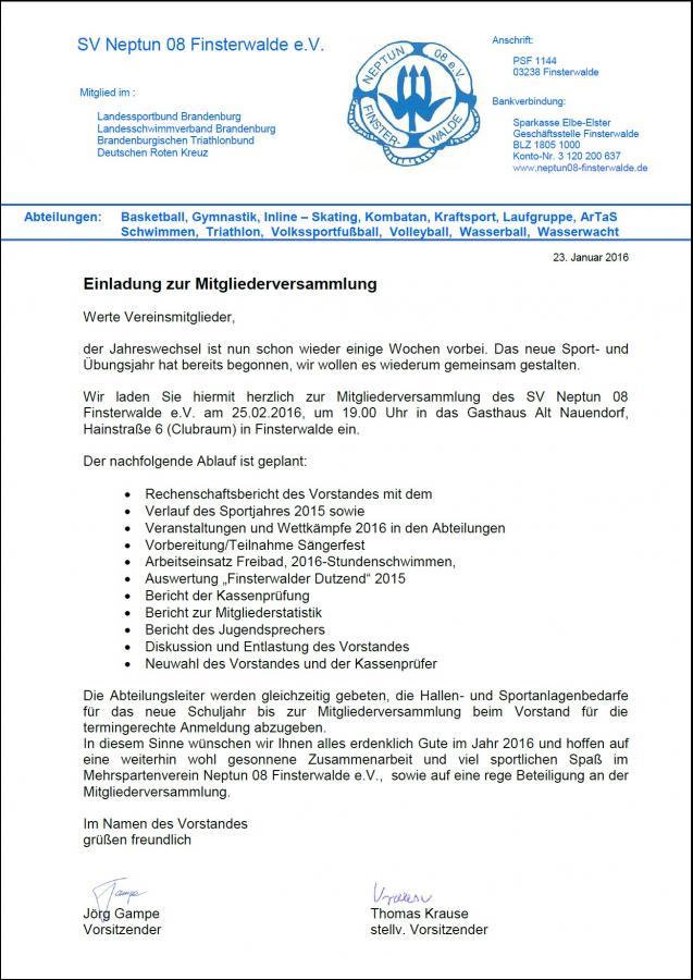 Einladung Mitgliederversammlung 2016