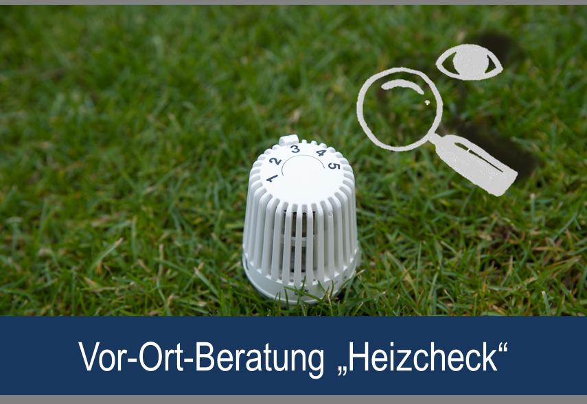 """Link zu Vor-Ort- Beratung """"Heizcheck""""; Bild zeigt ein Thermostat, sowie eine gezeichnete Lupe und ein gezeichnetes Auge auf Rasen"""
