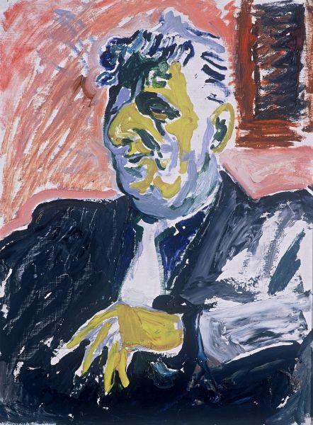 Bildnis mit gelber Hand, nach 1950, Öl_Hartfaser_ Carl Lohse_Foto Thomas Kläber
