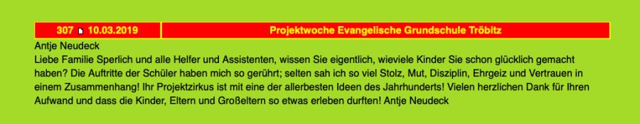 Gästebuch des Projektzirkus