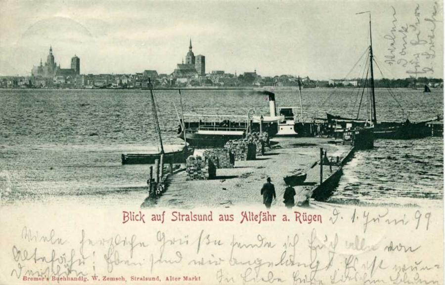 Blick auf Stralsund aus Altfähr 1899