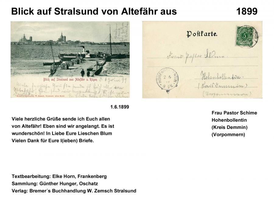 Blick auf Stralsund von Altfähr aus 1899