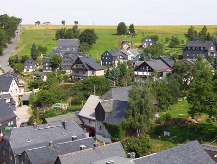 Blick vom Kirchturm auf das obere Dorf