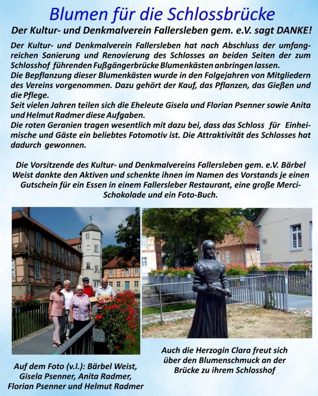 Blumenpflege Schlossbrücke Fallersleben