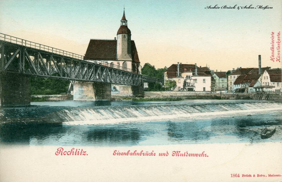 Rochlitz Eisenbahnbrücke und Muldenwehr
