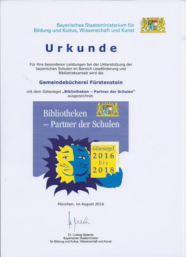 Bücherei-Urkunde