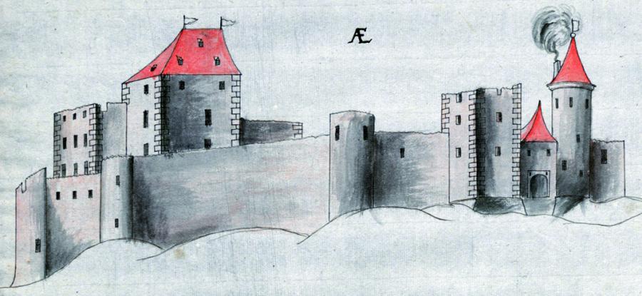 Burg Wilhelmstein im späten Mittelalter; LAV NRW R, Karten Nr. 3155 d