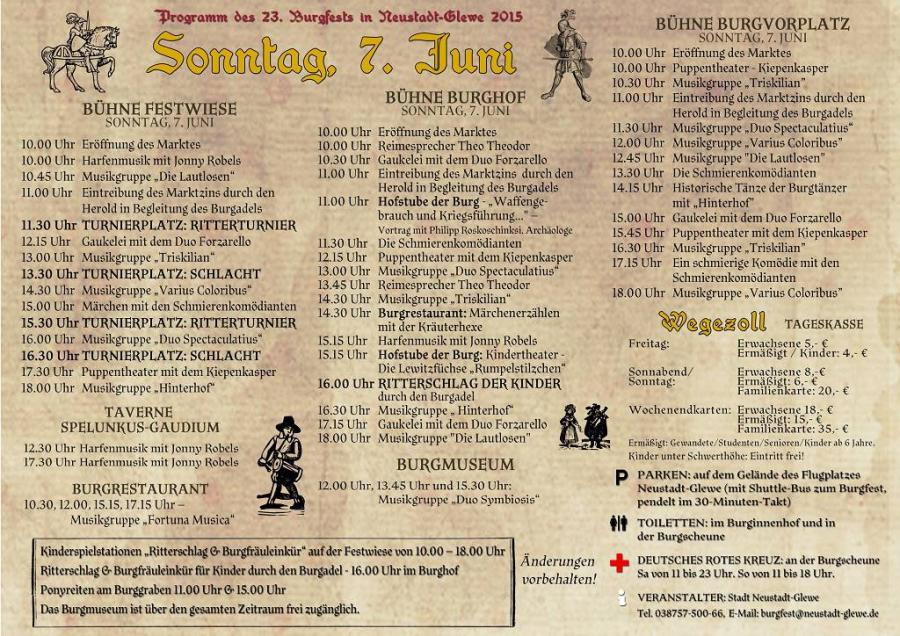 Programm Sonntag
