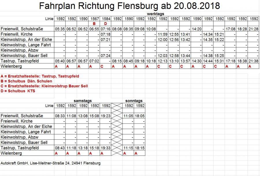 Busfahrplan Autokraft ab 20.08