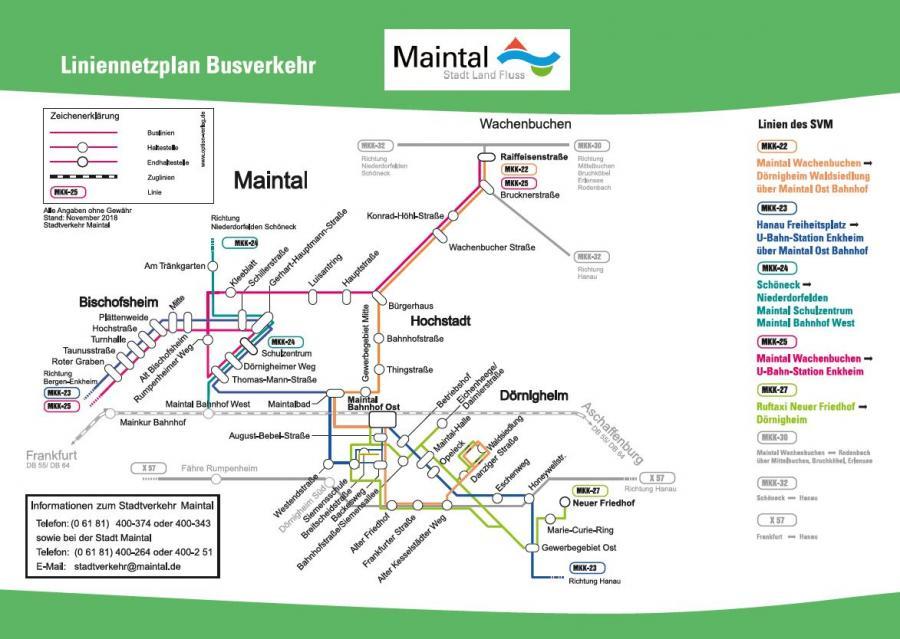 Bild zeigt die Vorschau Busliniennetzplan im Stadtgebiet Maintal; externer Link zur PDF Datei; Bild Stadt Maintal