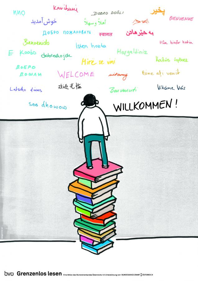 Willkommen-Plakat (Flüchtlinge)