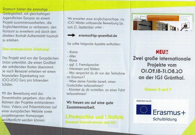 Flyer Erasmus 2018-2020