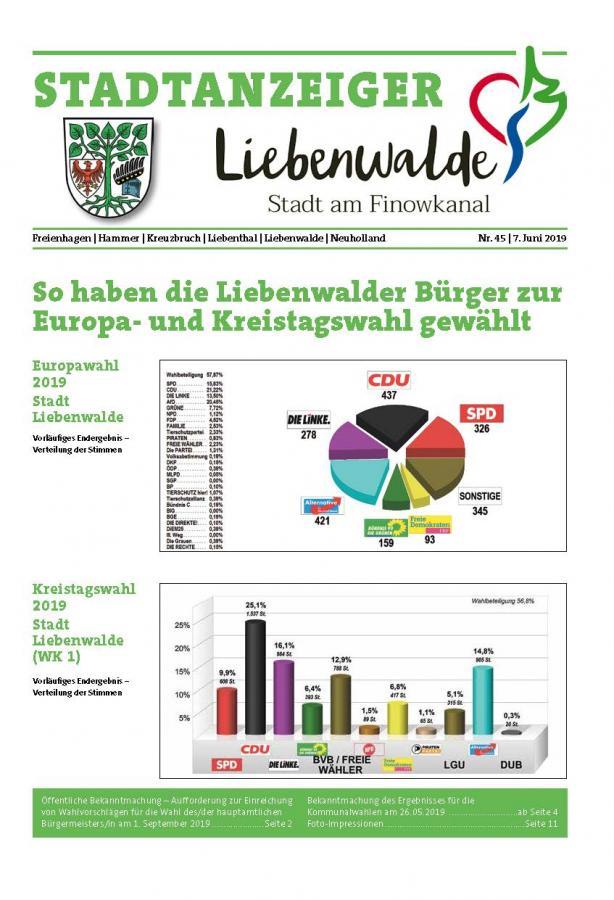 Liebenwalder Stadtanzeiger Ausgabe 45/2019