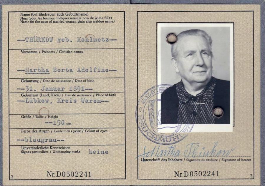 Personalausweis Martha Thürkow