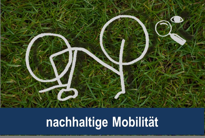 Link zu nachhaltige Mobilität; Bild zeigt ein gezeichnetes Fahrrad, sowie eine Lupe und ein Auge auf Rasen
