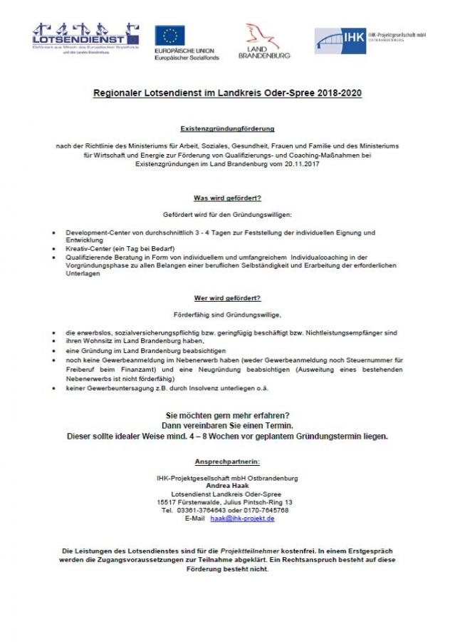 Infoblatt Regionaler Lotsendienst