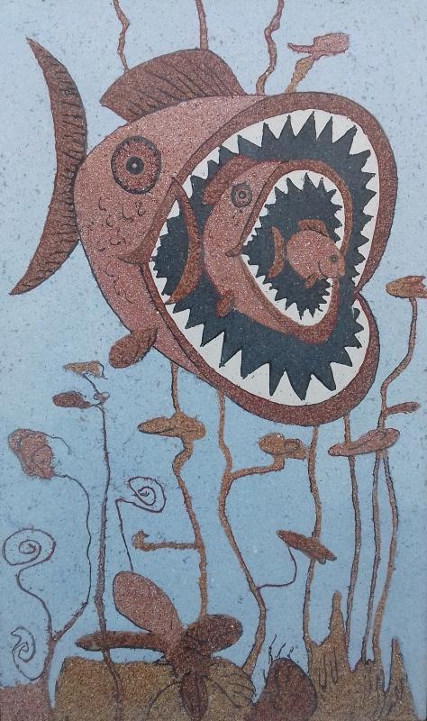 Paneel- Fische2017 Terrazzo- geschliffen120 x 200 x 1,5 cm