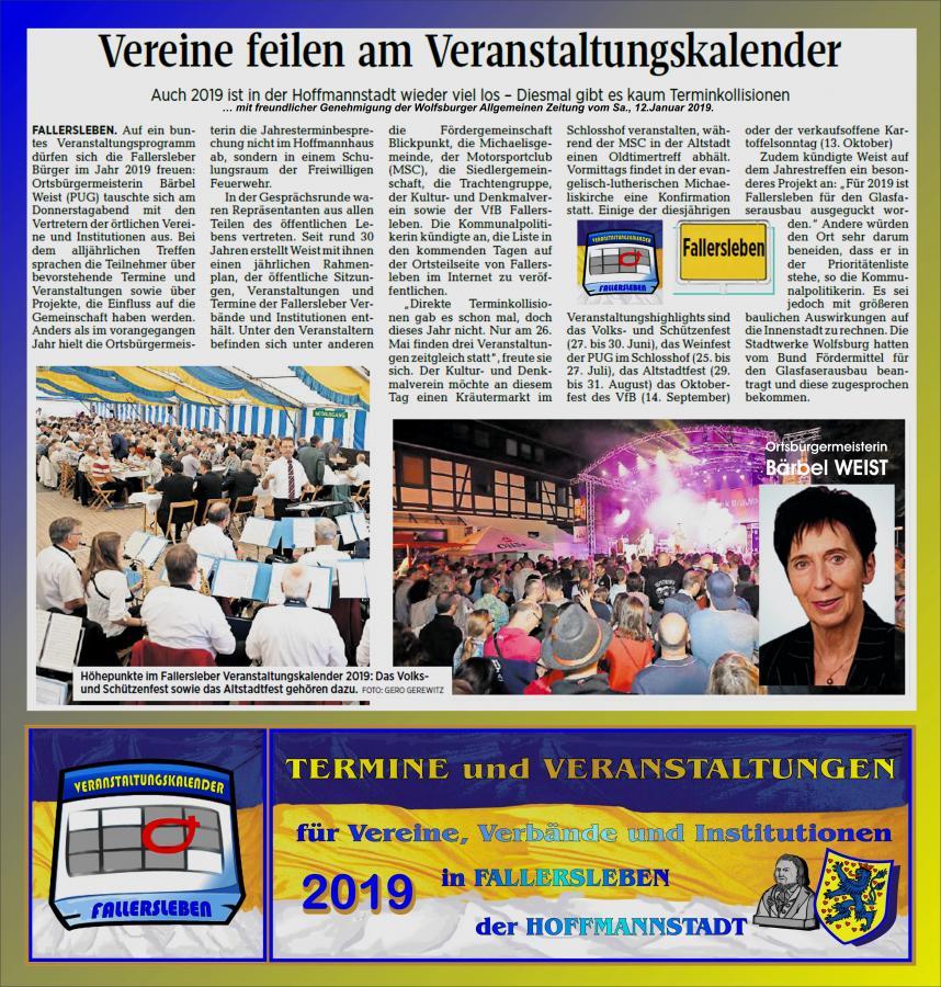 Bericht über Veranstaltungen 2019  in Fallersleben