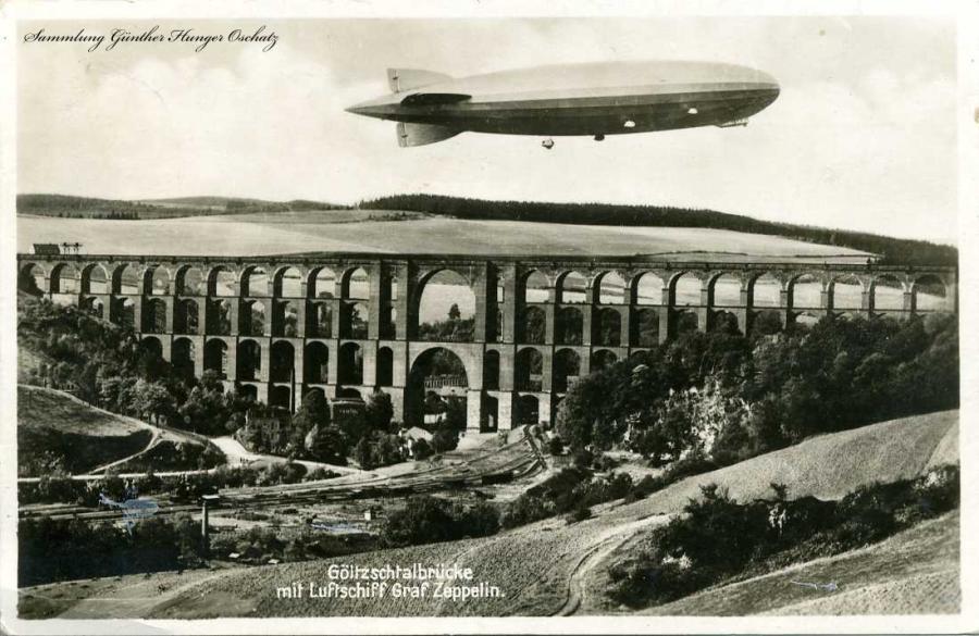 Göltzschtalbrücke mit Luftschiff Graf Zeppelin