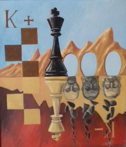 König plus und König minus1989 Öl auf Hartfaser60 x 69 cm