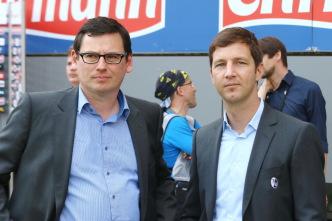 Fußball-Bundesligist SC Freiburg verlängert Verträge mit Vorstand Oliver Leki (links/Finanzen) und Jochen Saier (Sport) um vier Jahre bis 2021 - Foto: Joachim Hahne / johapress