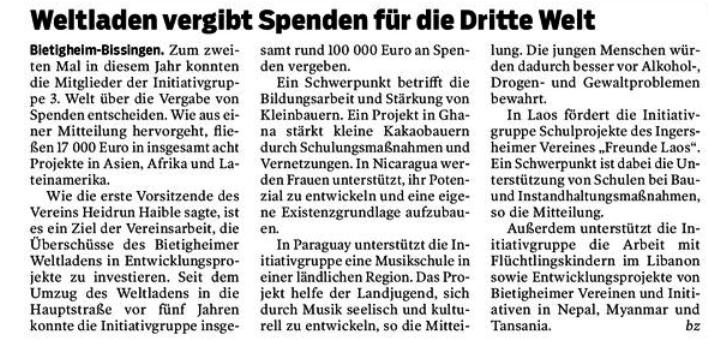 Bietigheimer Zeitung vom 23.11.2018