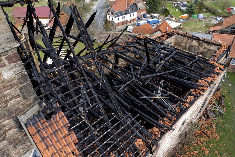 Kirchenburg Walldorf nach dem Brand