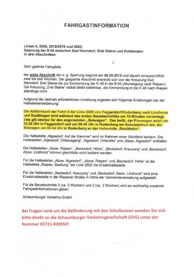 Fahrgastinformation Baustelle September 2019
