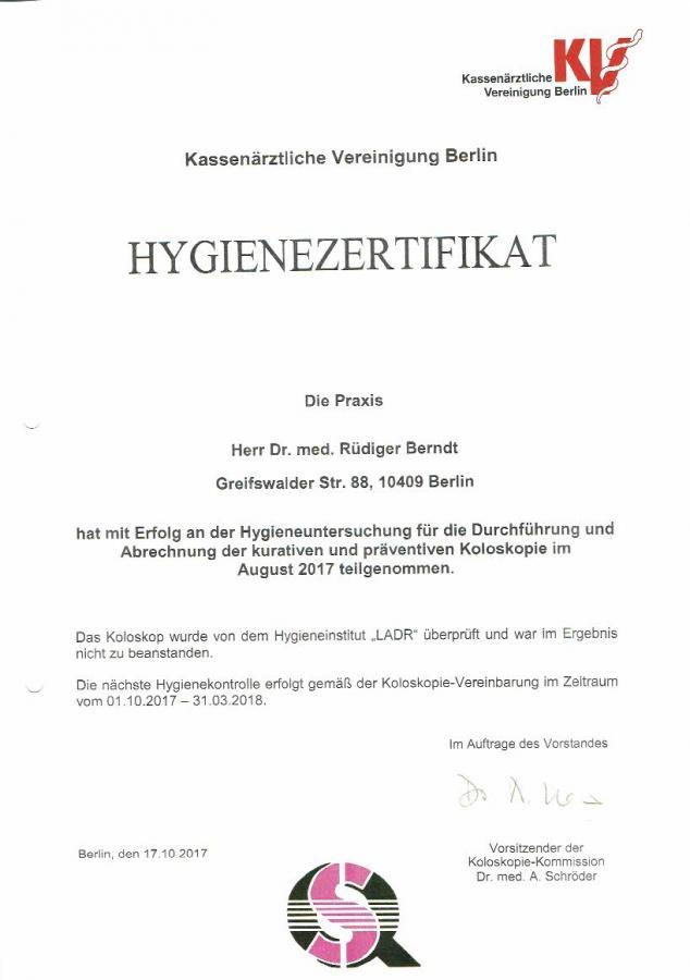 Hygiene-Zertifikat 10/17 - 03/18