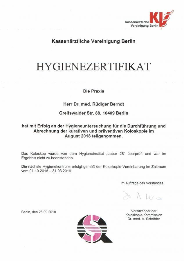 Hygiene-Zertifikat 10/18 - 03/19
