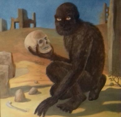Ein Yeti macht einen seltsamen Fund1985 Öl auf Hartfaser83 x 83 cm