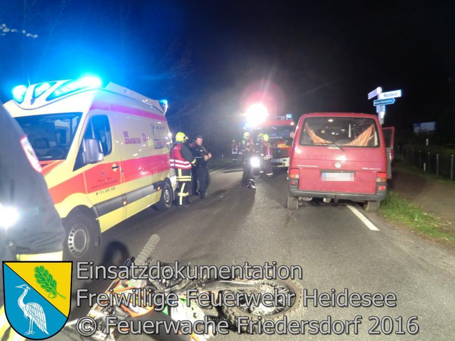 Einsatz 23/2016 | VU Krad unter Transporter | Blossin Waldeck 19.04.2016
