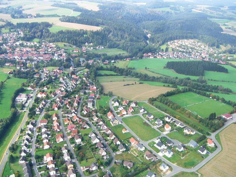 Luftbild des Wohngebiets