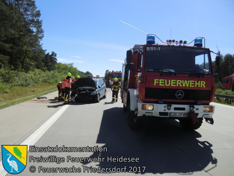 Einsatz 51/2017 | PKW in Leitplanke | BAB 10 AD Spreeau - AS Niederlehme | 01.06.2017