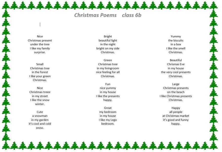 Class 6b_Christmas Poems