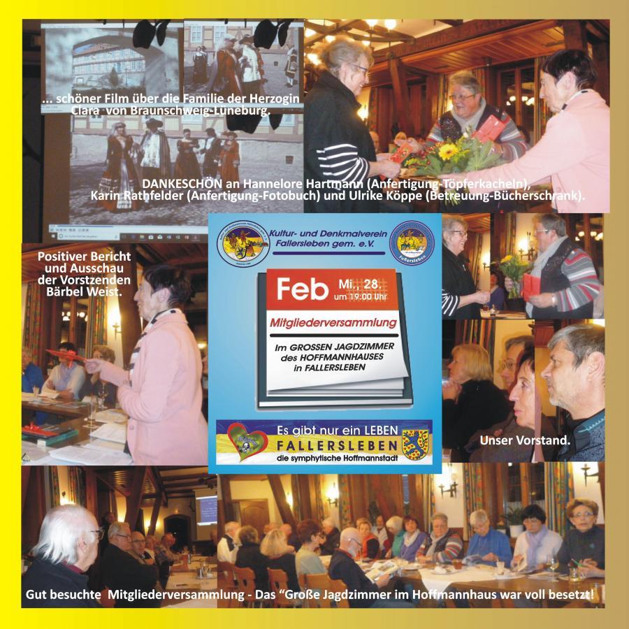 Bilder-Collage von der Mitgliederversammlung des Kultur- und Denkmalvereins Fallersleben am 28.Februar 2018