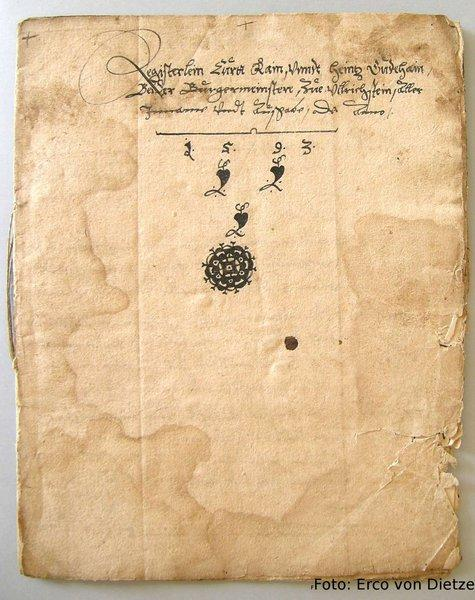 Rechnung der Stadt Ulrichstein von 1598