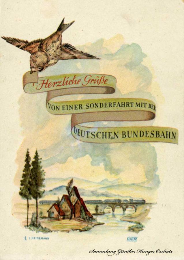 Herzliche Grüße von einer Sonderfahrt mit der Deutschen Bundesbahn