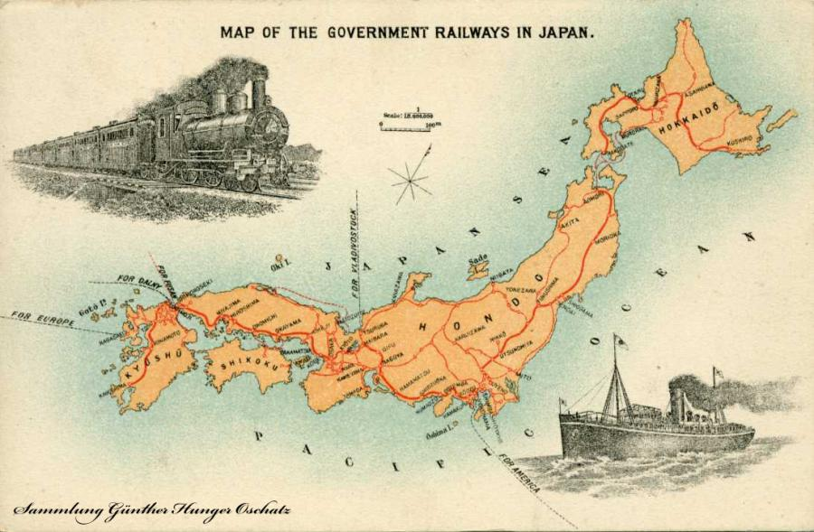 Map of the Government Railways in Japan Karte der Regierungsbahnen in Japan