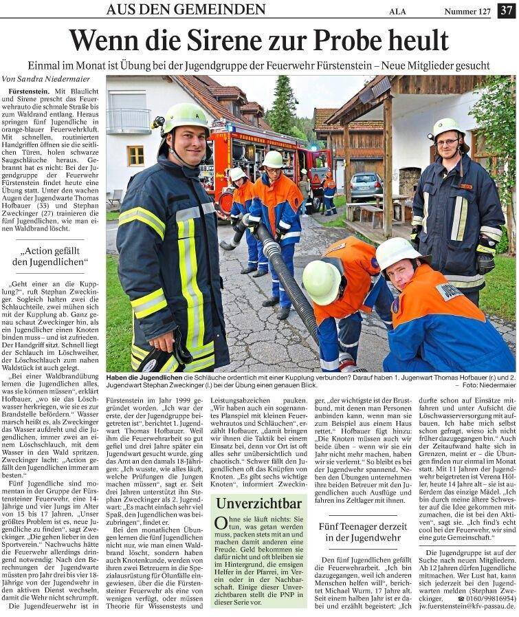 Jugendfeuerwehr Fürstenstein/ Passauer Neue Presse 1