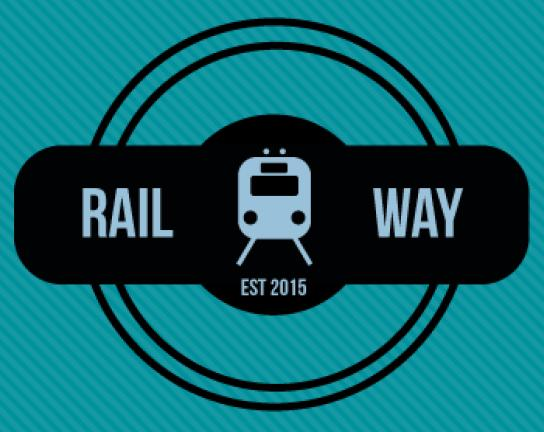 """Bild zeigt das Logo  zum Jugendprojekt Railway; es zeigt einen Zug von vorne und den Text """"Railway est 2015"""""""