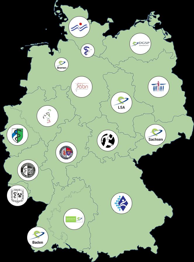 Die DGSP-Landesverbände in ihrer geografischen Aufteilung