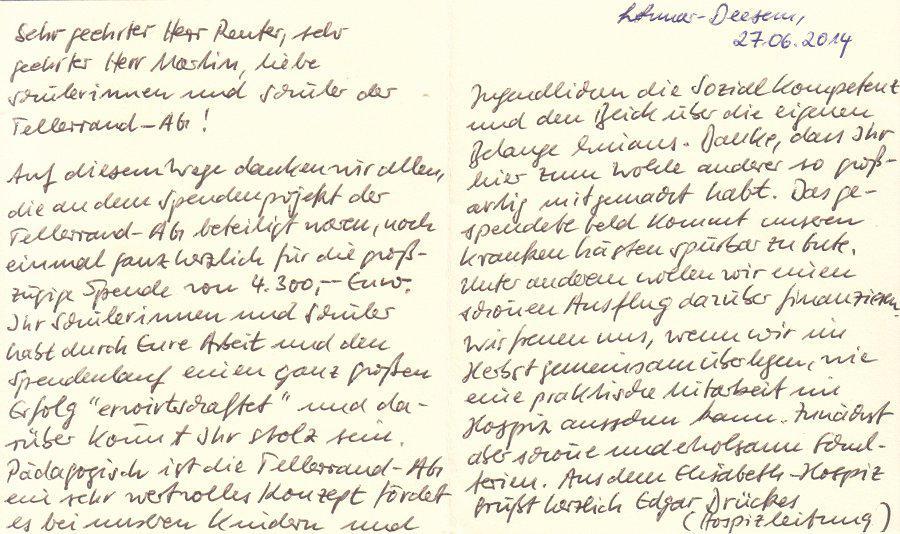 Dankesschreiben von Herrn Drückes (Elisabeth-Hospiz in Lohmar Deesem)
