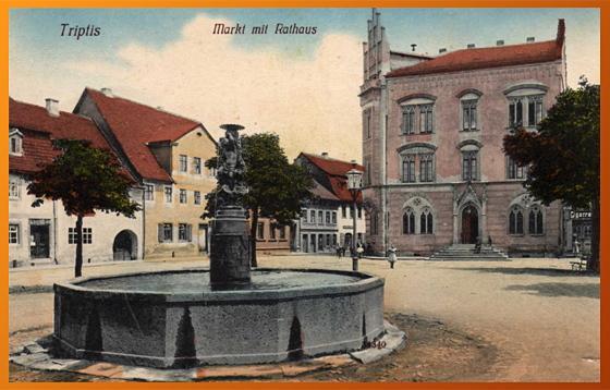 Das ehemalige Rathaus von Triptis (colorierte Aufnahme um 1910)