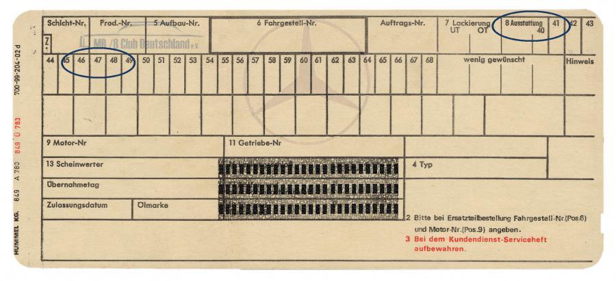 Eine Datenkarte von 1969