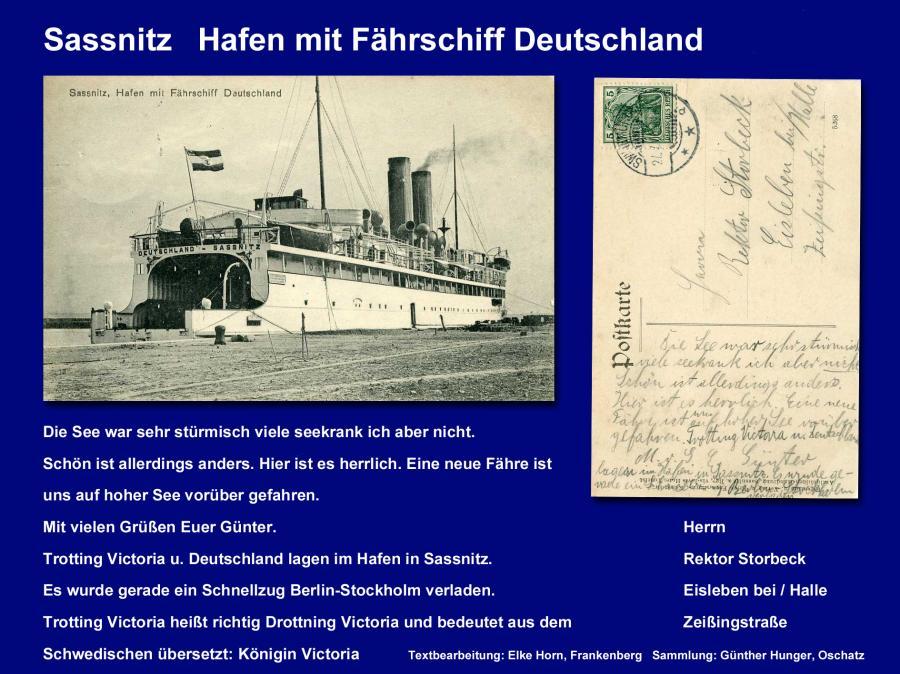 Sassnitz Hafen mit Fährschiff Deutschland