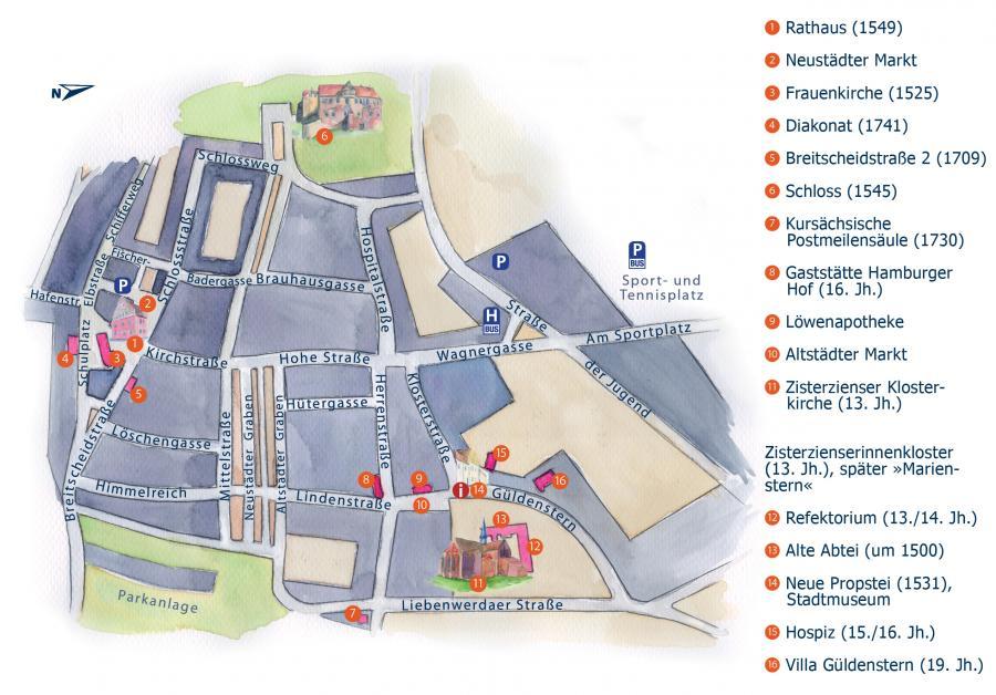 Stadtplan von Mühlberg/Elbe, Illustration Berida, Malerei und Illustration, Rostock, www.berida.de